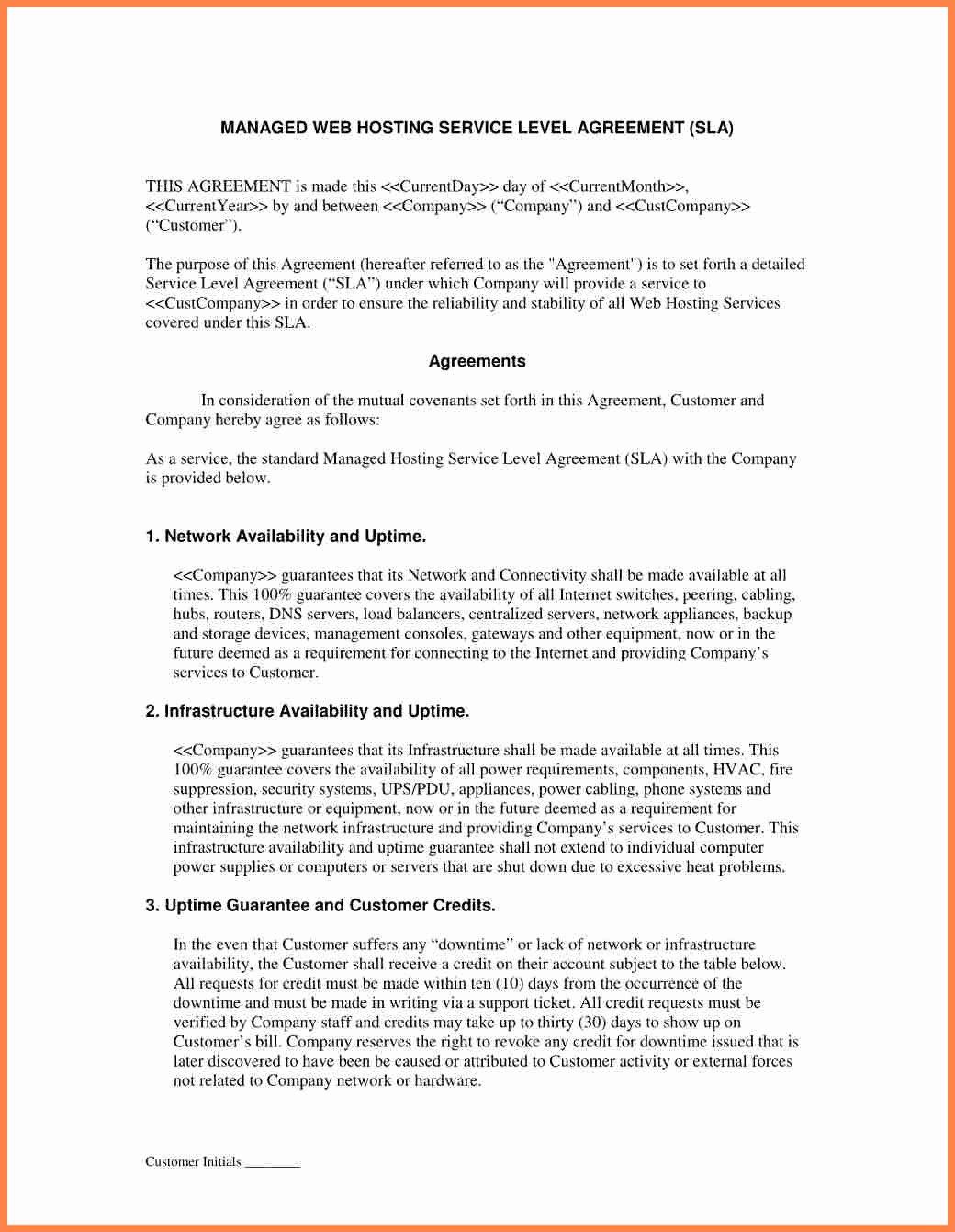 Internal Service Level Agreement Template Luxury 8 Training Service Level Agreement Template
