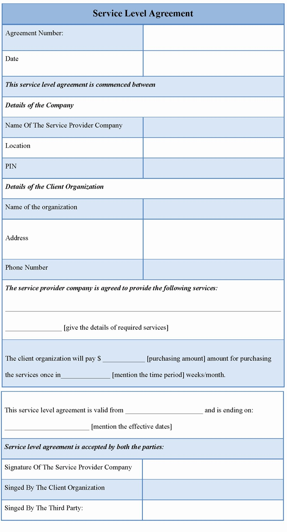 Internal Service Level Agreement Template Luxury Service Level Agreement format