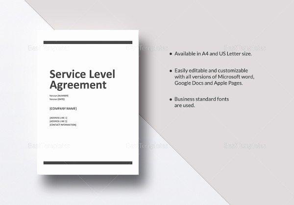 Internal Service Level Agreement Template Unique Service Level Agreement Template 18 Free Word Pdf