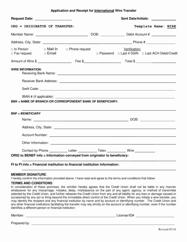International Wire Transfer form Template Awesome 13 Transfer Receipt Templates Pdf