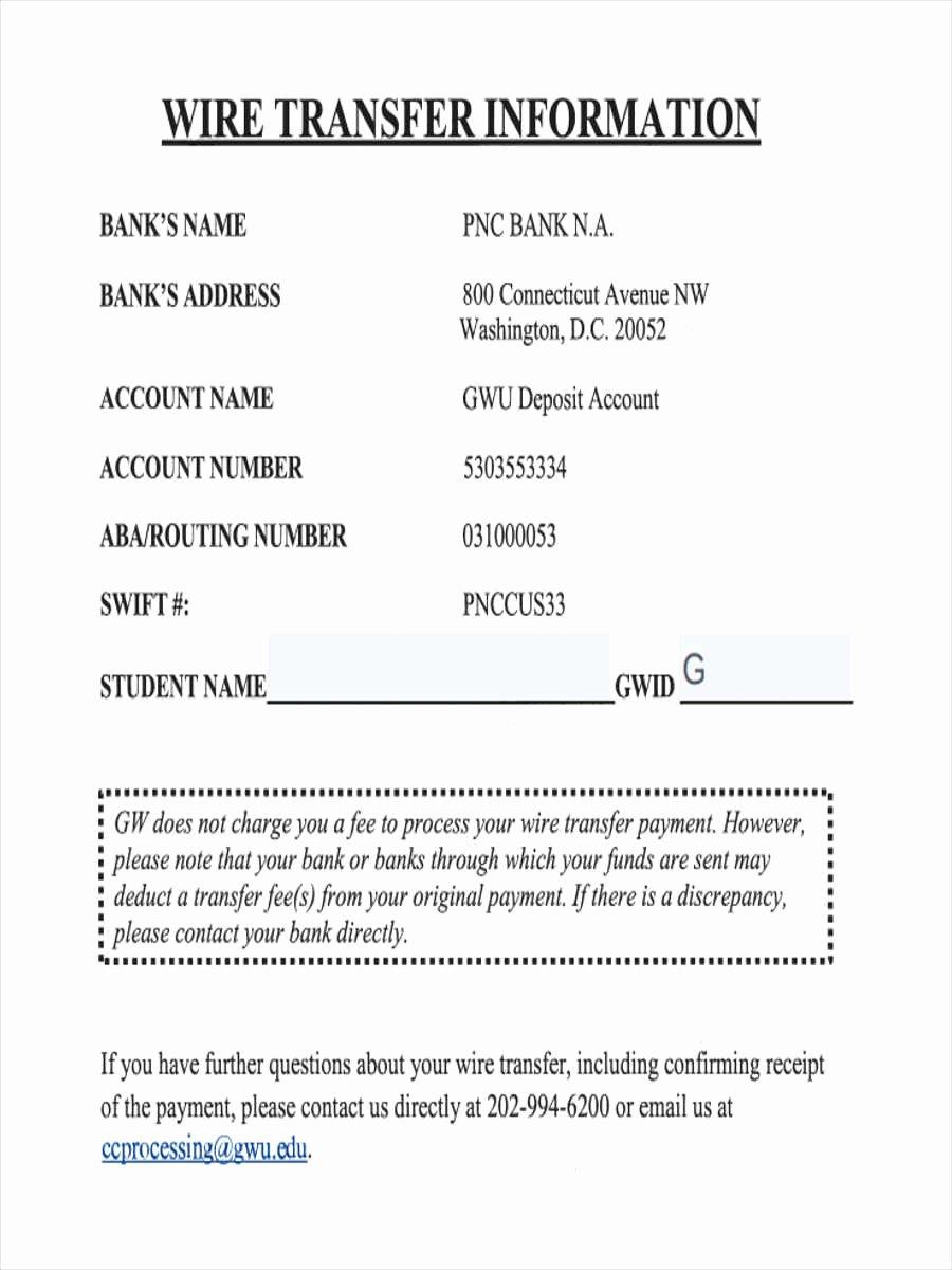 International Wire Transfer form Template Fresh 7 Wire Transfer forms Free Sample Example format Download