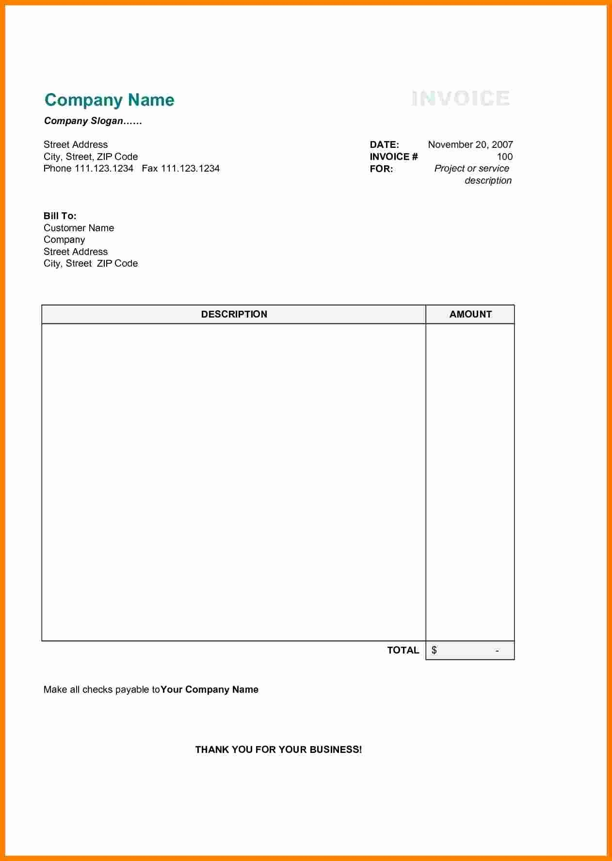 Invoice Template Word 2010 Awesome 6 Simple Invoice Template Word