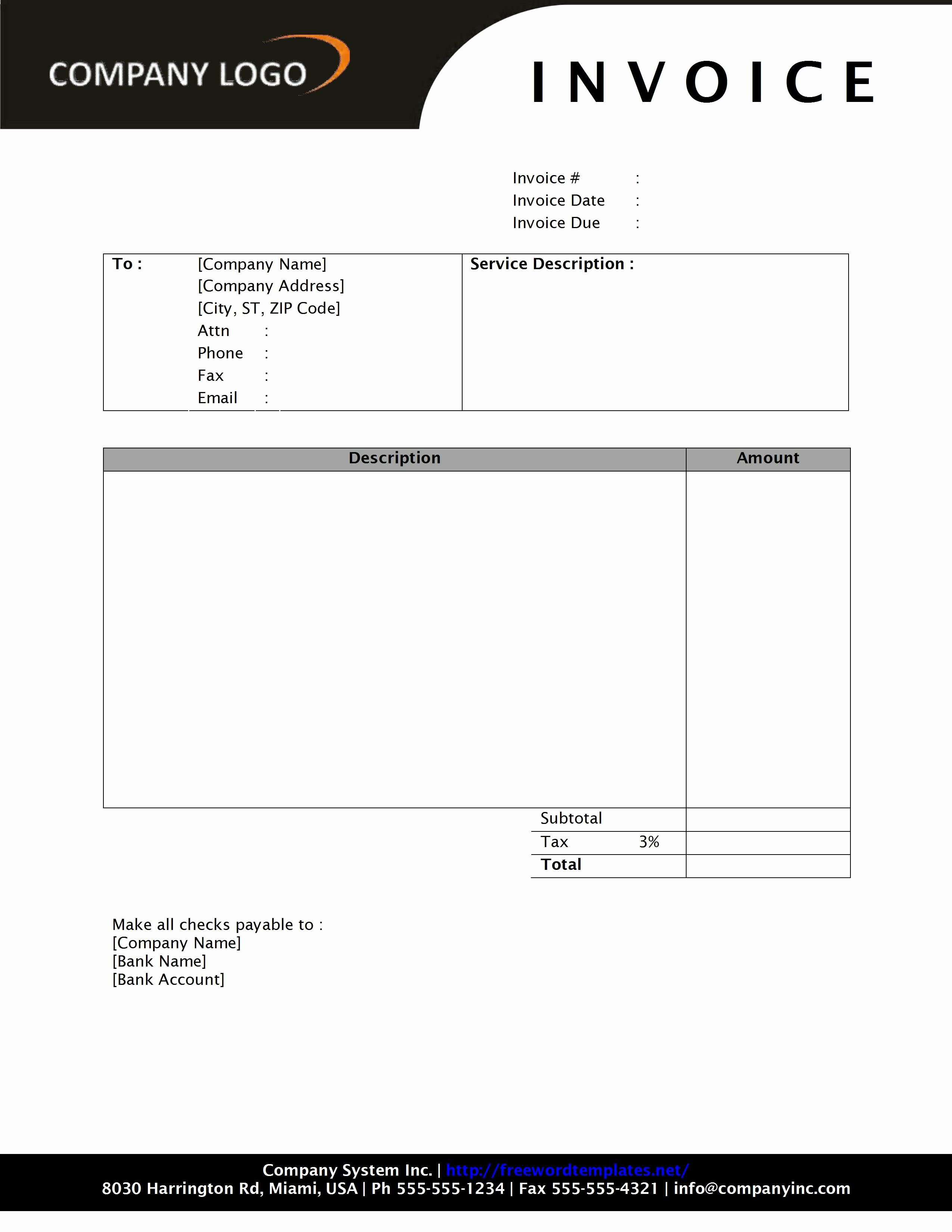 Invoice Template Word 2010 Beautiful General Service Invoice