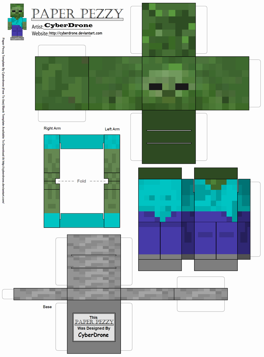 iPhone 6 Skin Template Pdf Lovely Paper Pezzy Zombie Minecraft by Cyberdrone On Deviantart