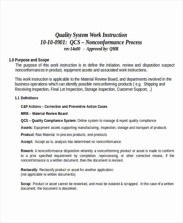 Iso 9001 Work Instruction Template New 30 Of iso Work Instruction Template Free
