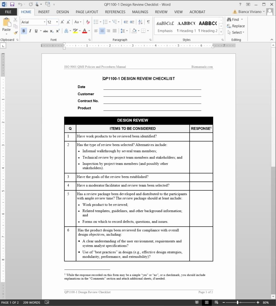Iso Process Template Elegant Design Review Checklist iso Template