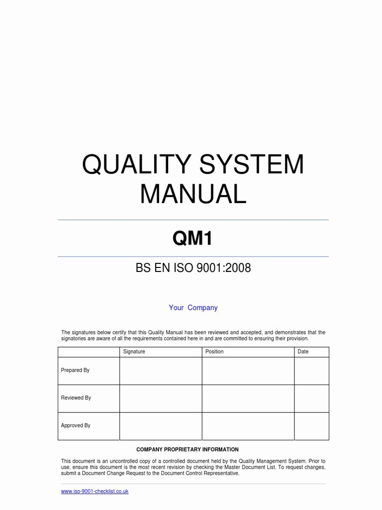 Iso Process Template Luxury Quality Manual Template Example iso 9000
