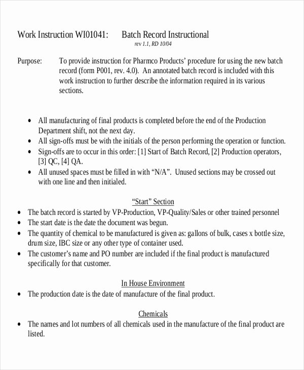 Iso Work Instruction Template Beautiful 9 Work Instruction Templates Free Sample Example