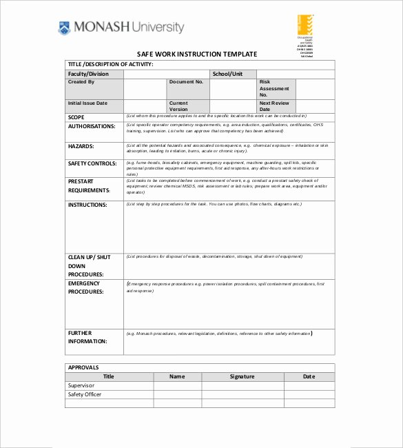 Iso Work Instruction Template Luxury Work Instruction Template Word Joselinohouse
