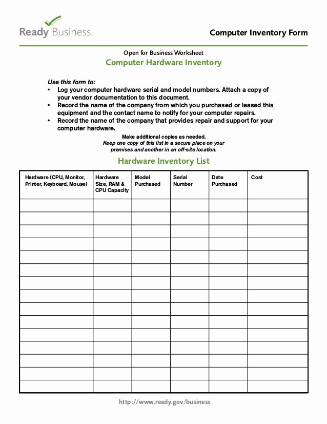 It Infrastructure Site Survey Template Best Of Business Puter Inventory form