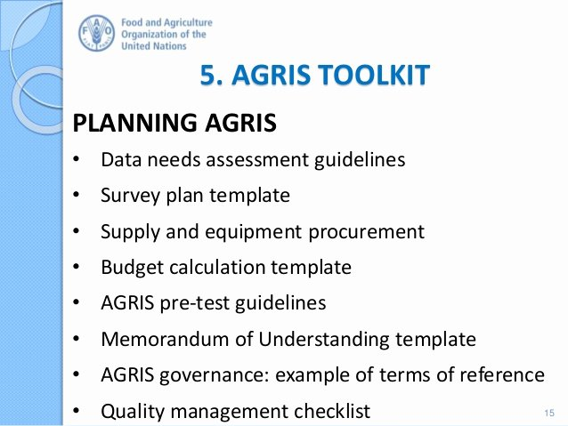 It Infrastructure Site Survey Template New Agricultural Integrated Survey Agris Rationale and