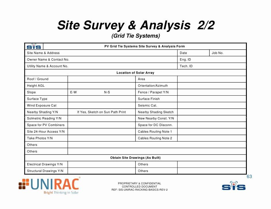 It Infrastructure Site Survey Template Unique Unirac Pv Racking Basics
