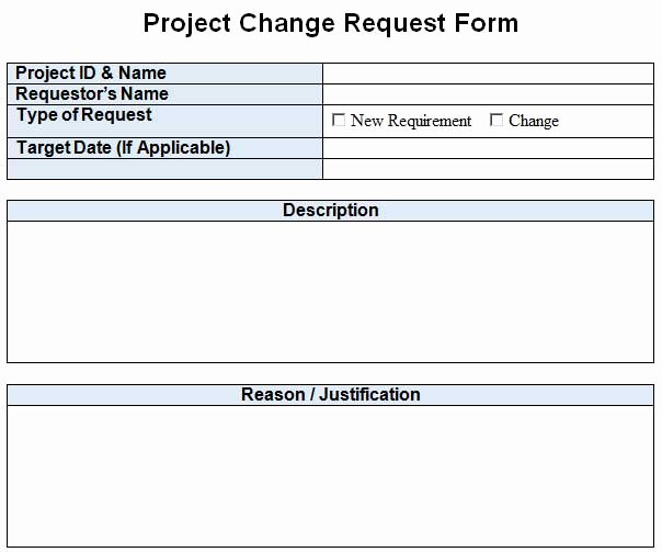 It Project Request form Template Beautiful Project Change Request Template Excel Word