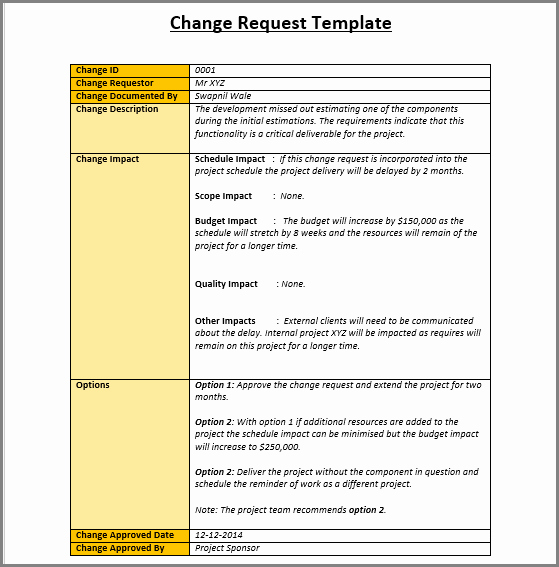 It Project Request form Template Inspirational 4 Change Management Templates Free Project Management