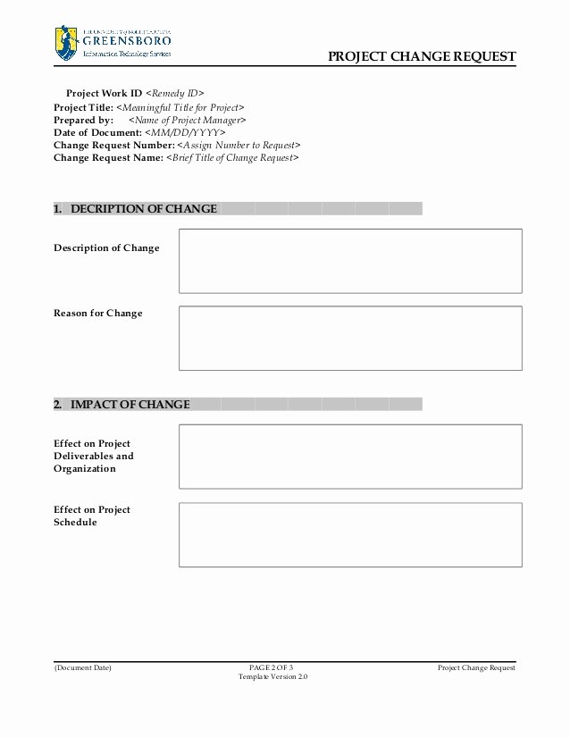It Project Request form Template New Project Change Request Template V2 0