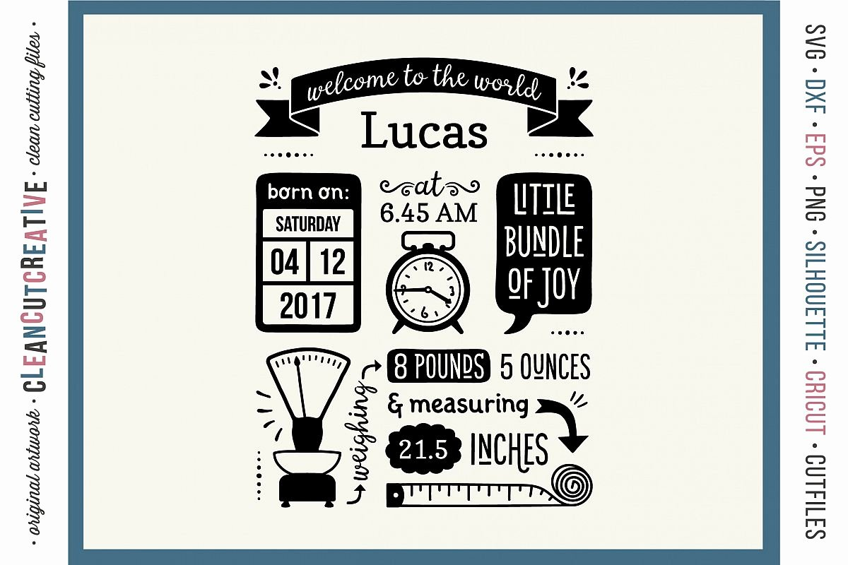 It's A Boy Announcement Template Beautiful Birth Stats Template Baby Birth Announcement Svg Dxf