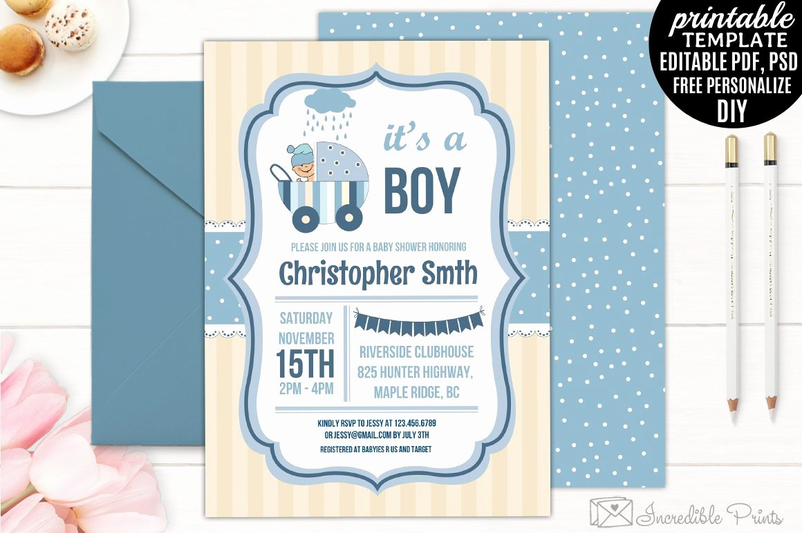 It's A Boy Announcement Template Luxury Boy Baby Shower Invitation Template Invitation Templates
