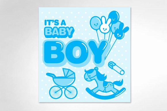 It's A Boy Announcement Template Unique Baby Announcement Boy Template Illustrations On
