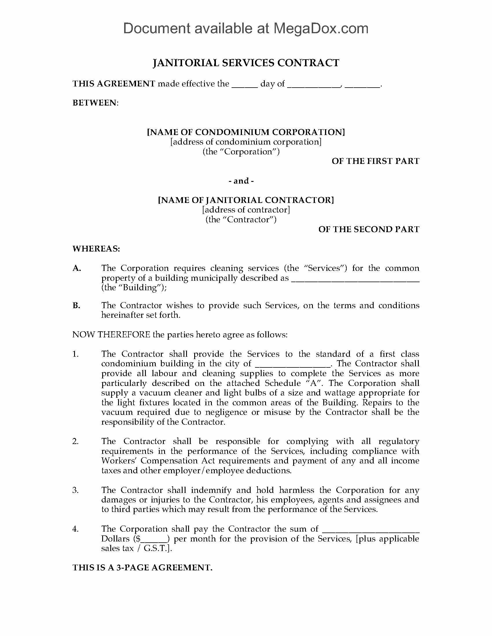 Janitorial Contract Template Awesome Cleaning Contract for Condominium Building