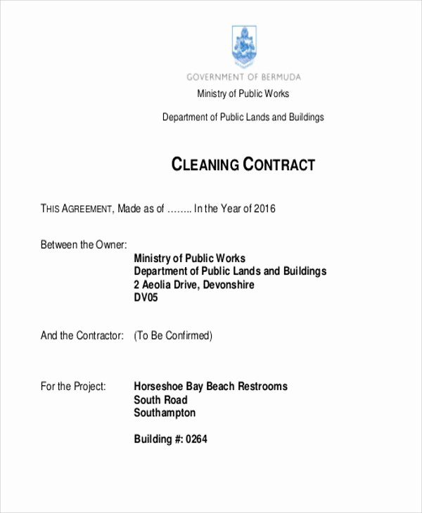 Janitorial Contract Template Beautiful 15 Cleaning Contract Templates Docs Word Pdf Apple