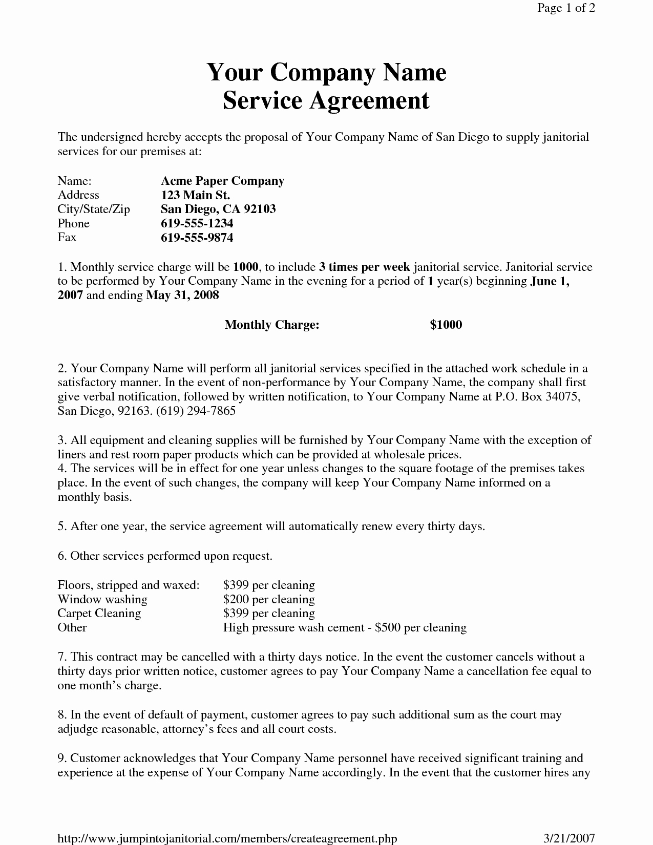 Janitorial Contract Template Beautiful Janitorial Service Agreement by Hgh Sample