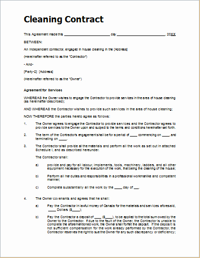Janitorial Contract Template Best Of Sample Cleaning Contract Template for Ms Word