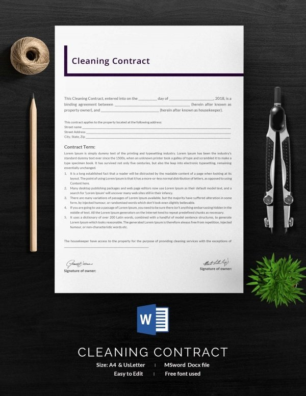 Janitorial Contract Template Elegant Cleaning Contract Template 27 Word Pdf Documents