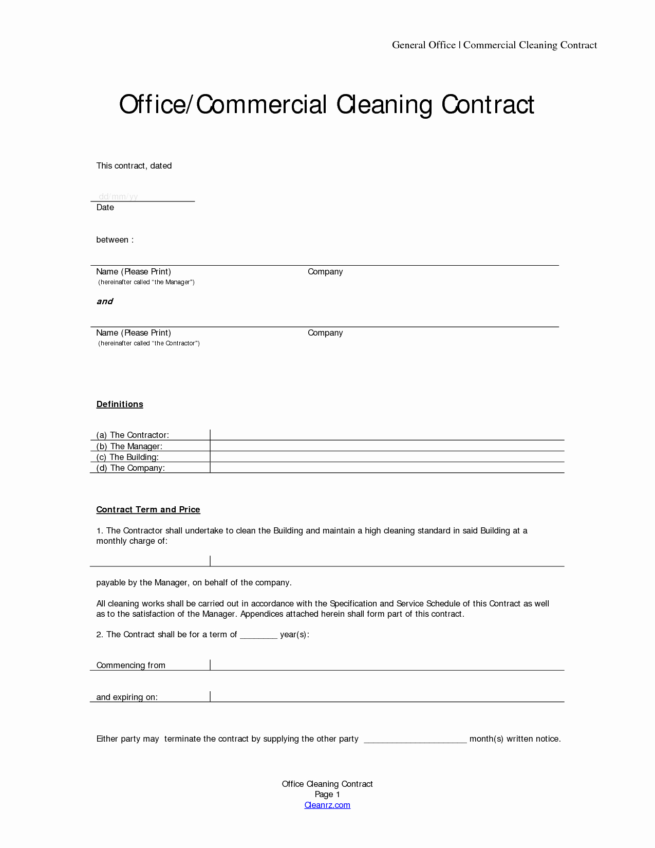 Janitorial Contract Template Elegant Cleaning Contract Template Free Printable Documents
