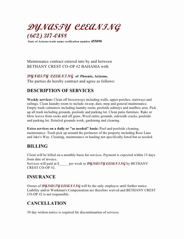 Janitorial Contract Template Luxury Free Printable Cleaning Contract Template form Generic