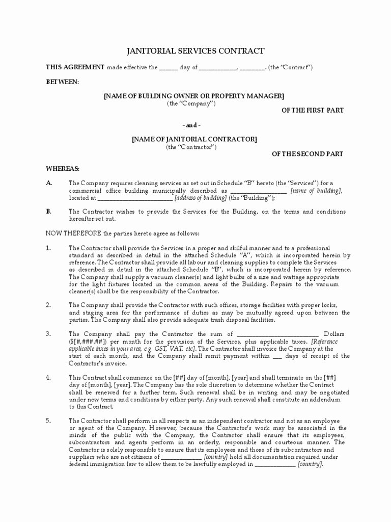 Janitorial Contract Template Luxury Mercial Cleaning Service Agreement Advanced Janitorial