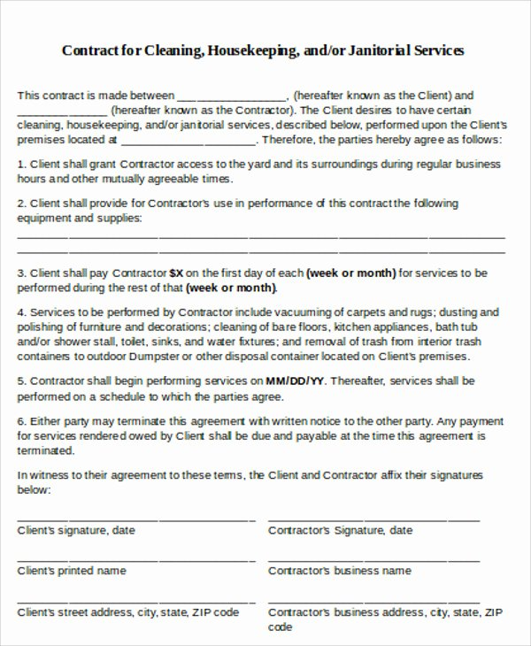 Janitorial Contract Template New 15 Cleaning Contract Templates Docs Word Pdf Apple