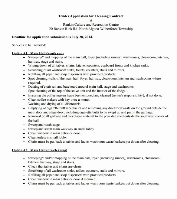 Janitorial Contract Template New 16 Cleaning Contract Templates Docs Word Pdf