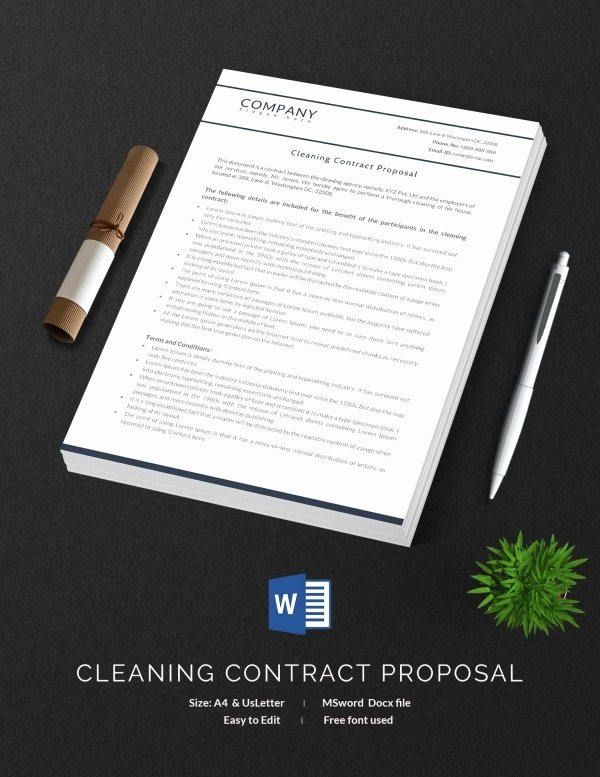 Janitorial Contract Template New Cleaning Contract Template 27 Word Pdf Documents