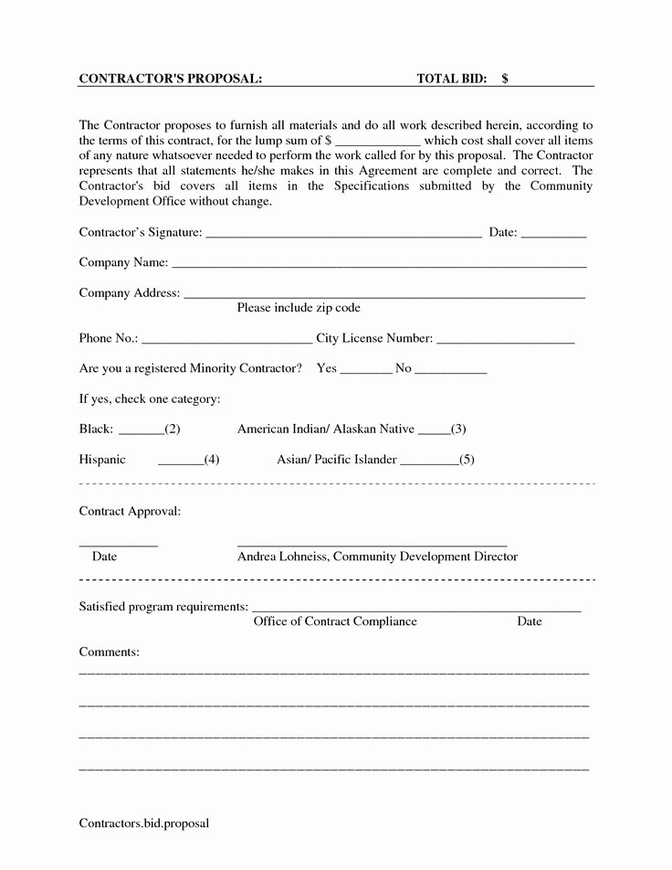 Janitorial Contract Template Unique Printable Blank Bid Proposal forms