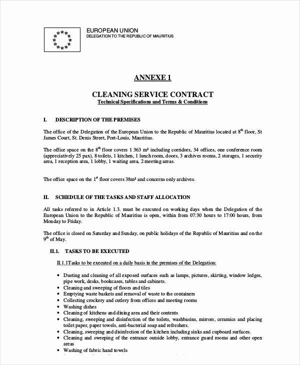 Janitorial Contracts Samples Best Of 12 Cleaning Contract Templates Docs Word Pages