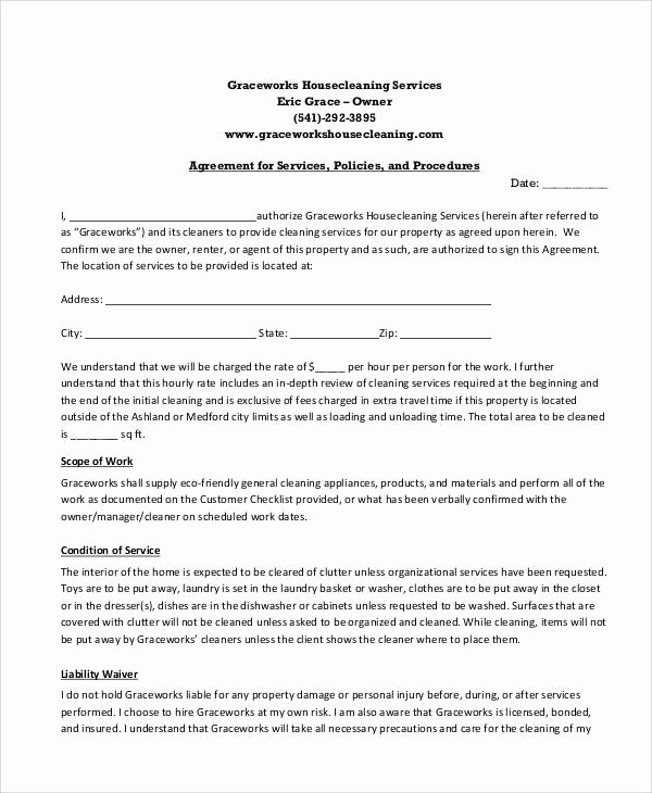Janitorial Contracts Samples Best Of 13 Sample Cleaning Service Contract Template Pages