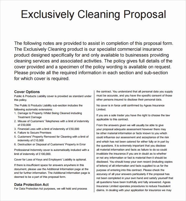 Janitorial Contracts Samples Elegant 16 Cleaning Proposal Templates Pdf Word