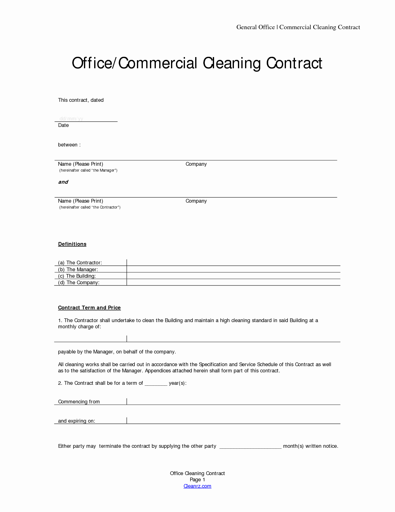 Janitorial Contracts Samples Unique Basic Service Contract Mughals