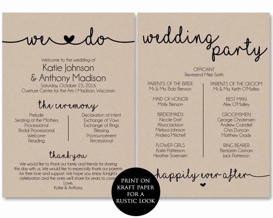 Jewish Wedding Program Template Beautiful Ceremony Program Template Printable Wedding Programs