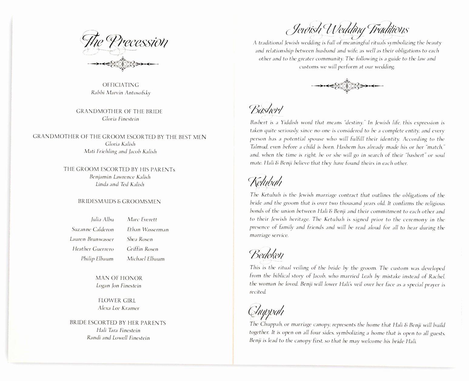 Jewish Wedding Program Template Lovely 12 Jewish Wedding Ceremony Program Template Ziyqu