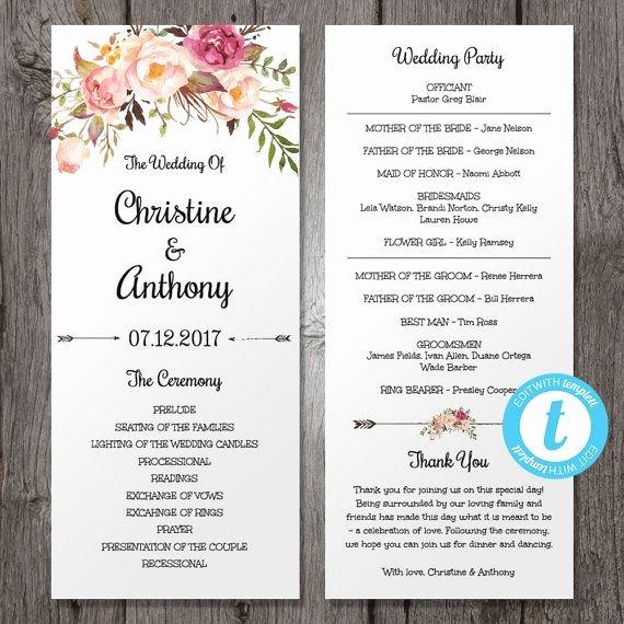 Jewish Wedding Program Template New Pink Floral Wedding Program Instant Download Bohemian