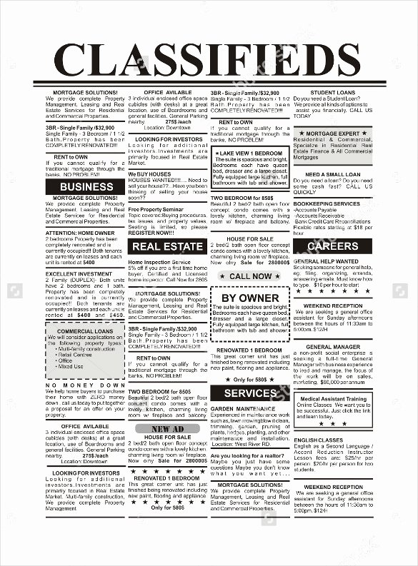 Job Advertisement Template Microsoft Word Awesome 15 Newspaper Ad Templates – Free Sample Example format