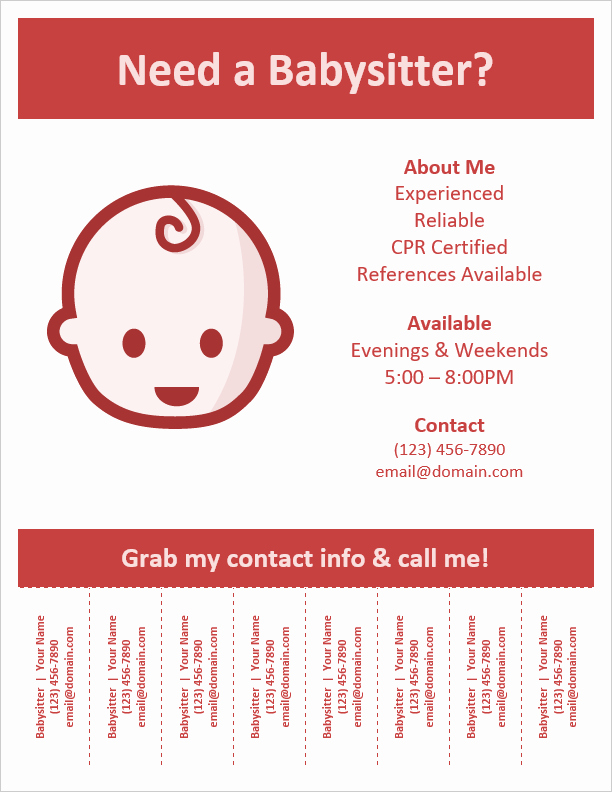 Job Advertisement Template Microsoft Word Awesome Babysitting Flyer Template with Pull Tabs by Vertex42
