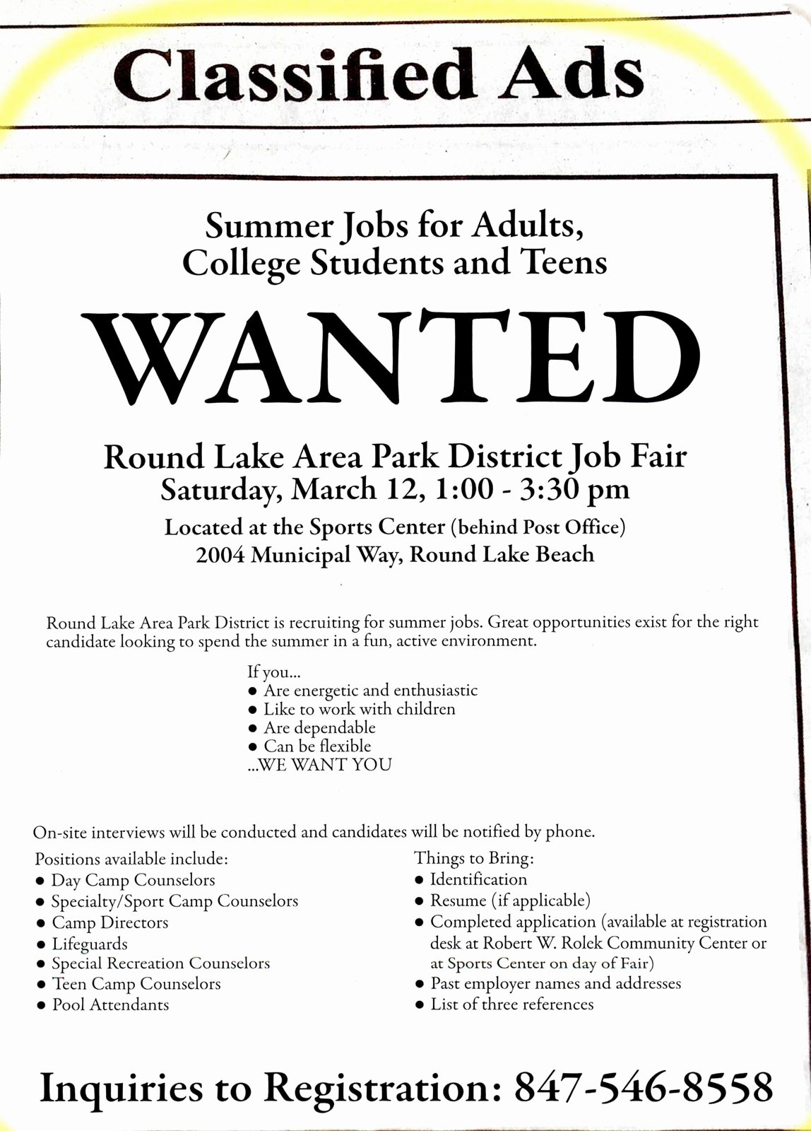Job Advertisement Template Microsoft Word Beautiful Tech Campus News Summer Jobs Available at Round Lake area