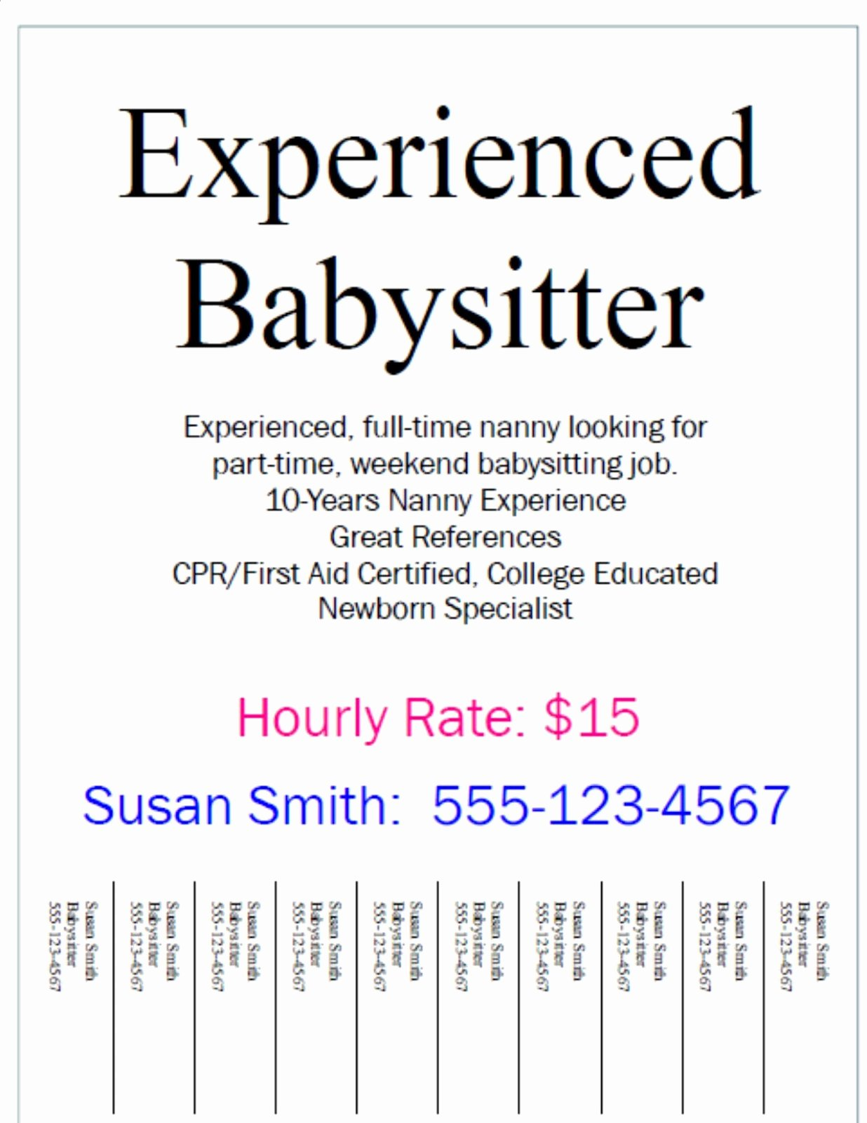 Job Advertisement Template Microsoft Word Unique Printable Babysitting Business Cards Sernidogmissse40