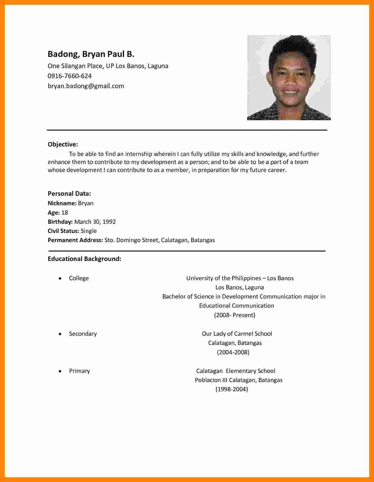 Job Application Sample Pdf Awesome 5 Cv Sample for Job Application Pdf