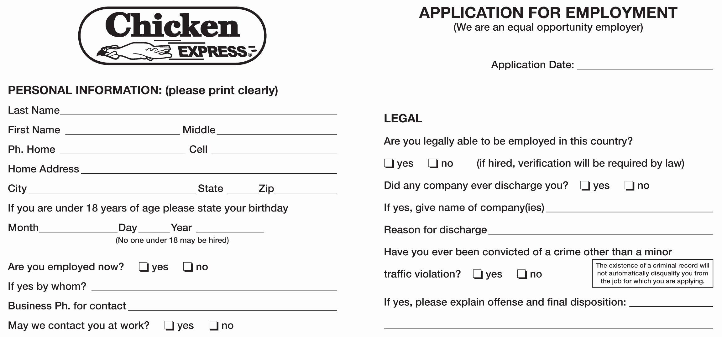 Job Application Sample Pdf Best Of Chicken Express Job Application Printable Employment Pdf