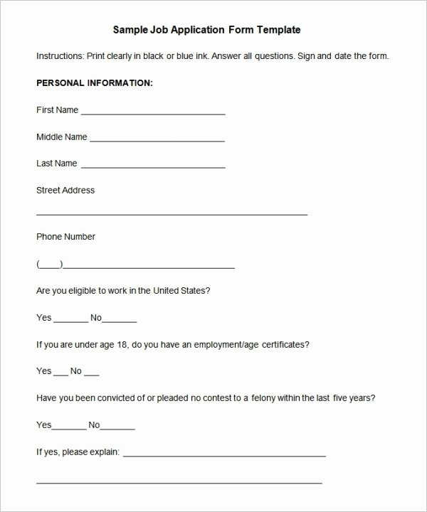 Job Application Sample Pdf Best Of Job Application Template 19 Examples In Pdf Word