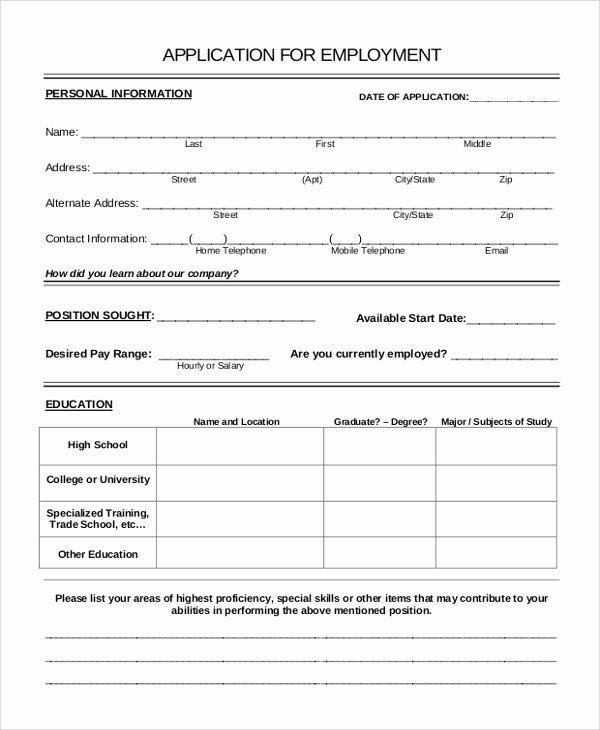 Job Application Sample Pdf Luxury 10 Sample Application forms