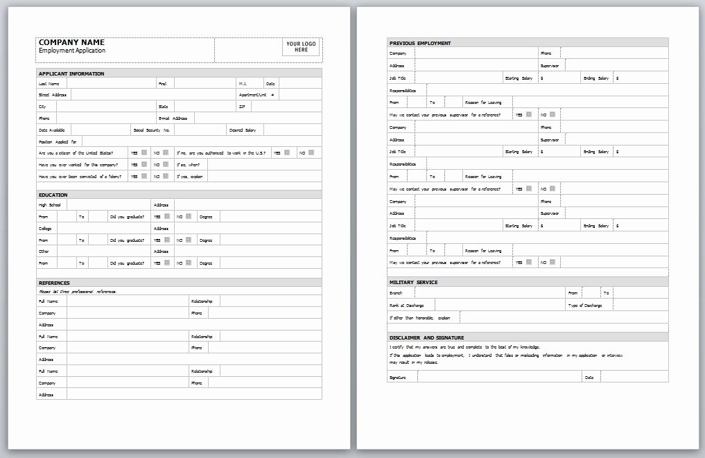 Job Applications Template Lovely Employment Application Template